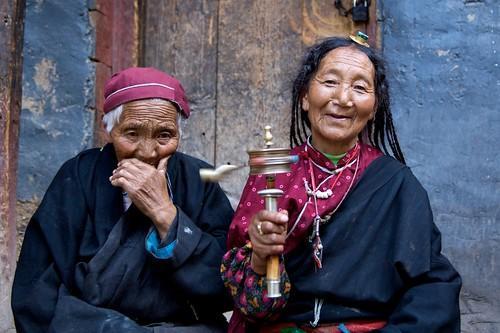 Two Tibetan women in Dege, Tibet