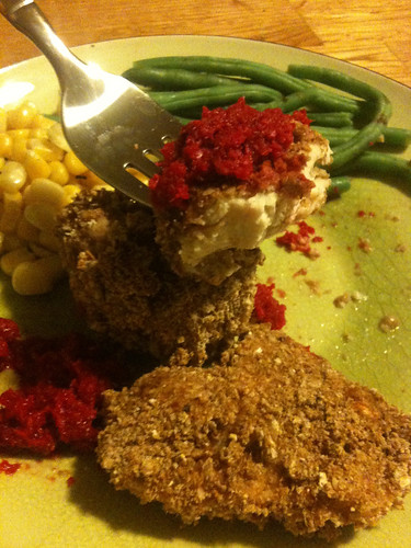 Baked chicken with wasa crumbs garnished with beet horseradish