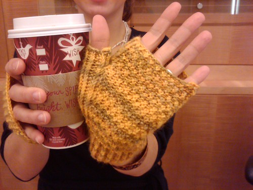 Yellow fingerless mitts palm