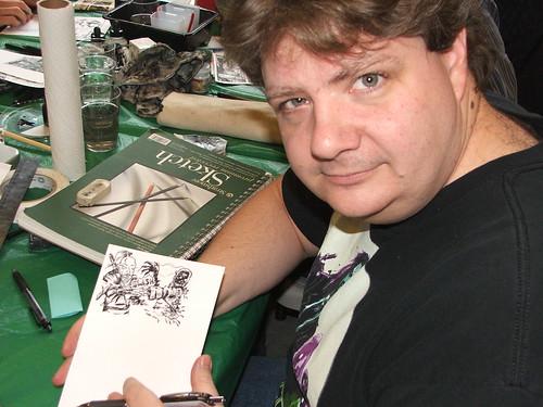 Alan drawing.