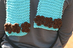 IMG_8534Knit Scarf with Crochet Flowers