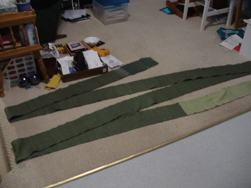 Finished green warp