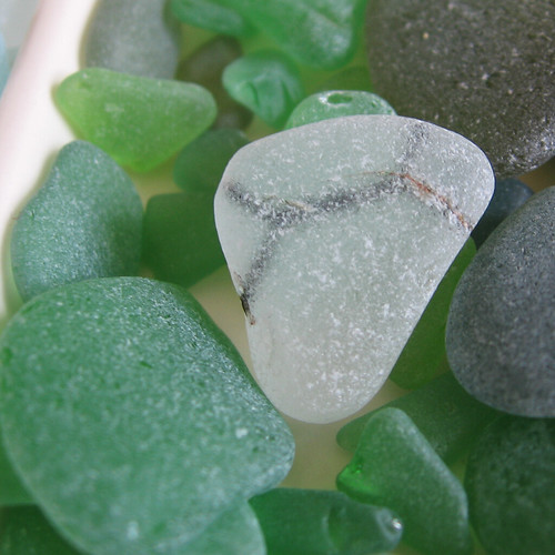 Seaglass with wire inside