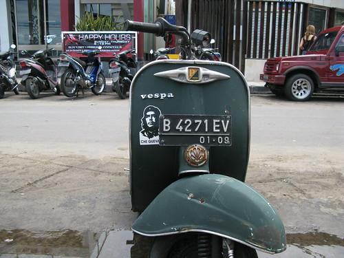 A Vespa scooter sports a Che Guevarra sticker in Kuta, Indonesia.