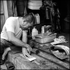 Tinsmith at work (>>mansur::amir<<) Tags: street blackandwhite bw 120 6x6 tlr film monochrome analog rolleiflex mediumformat square blackwhite hc110 malaysia kodaktmax400 melaka planar carlzeiss jonkerstreet 28f vanishingtrade rolleiflex28fplanar manilovefilm