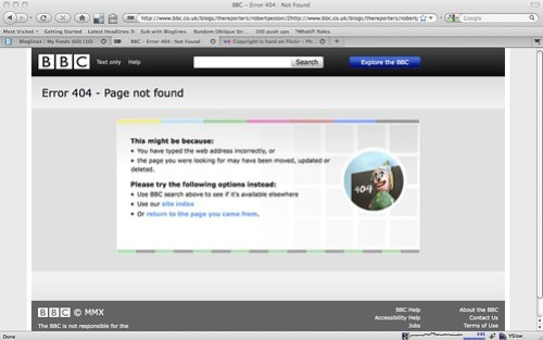 BBC 404 error screen