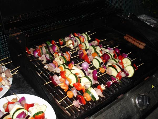 Zucchini, eggplant, mushroom, capsicum and chicken skewers
