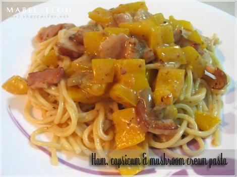 Ham, capsicum & mushroom cream pasta