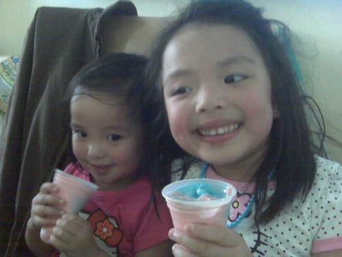 Enjoying ice cream from $ store @ home