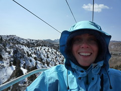 Sarah in the icy cable car