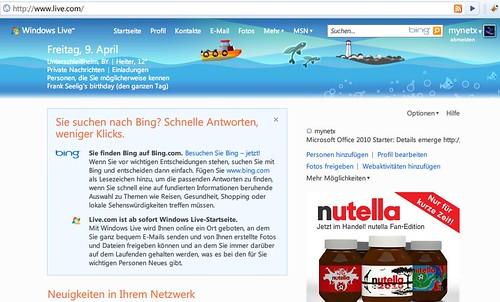 Windows Live-Startseite auf www.live.com