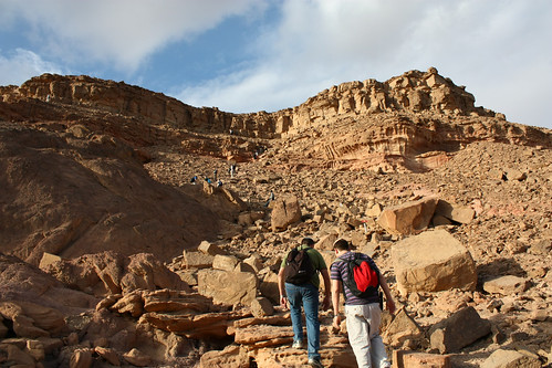 Hiking to top of Timna Plateau