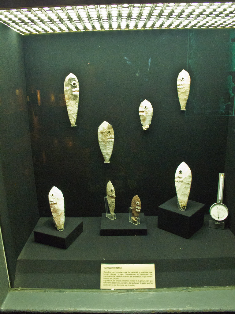 Flint knives with faces, used in sacrifices (often human)