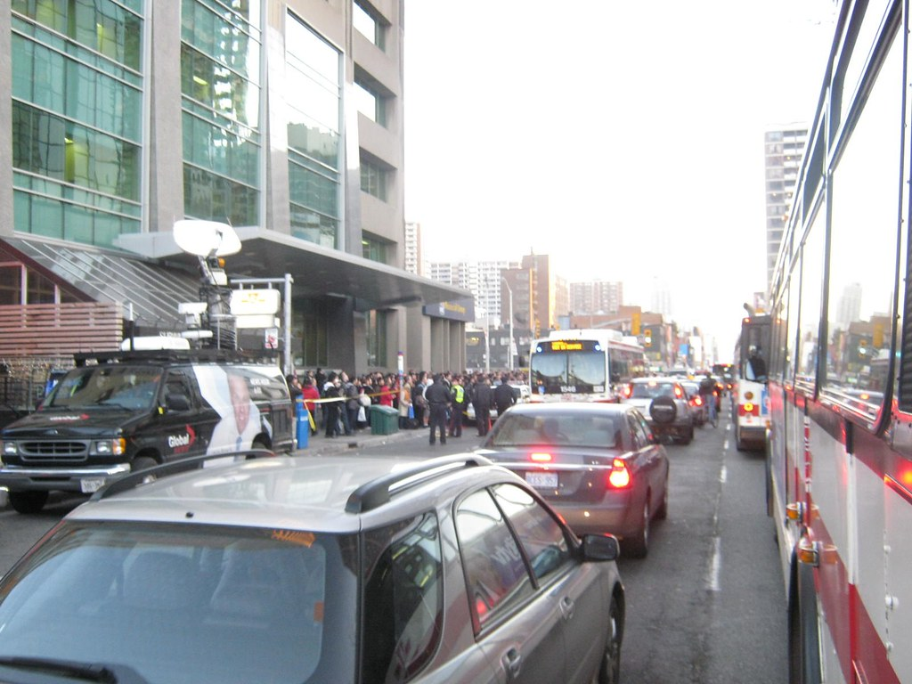 Yonge St Station as thousands of passengers line up for shuttle buses.