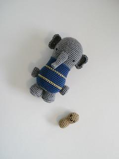 Crocheted elephant and peanut toys