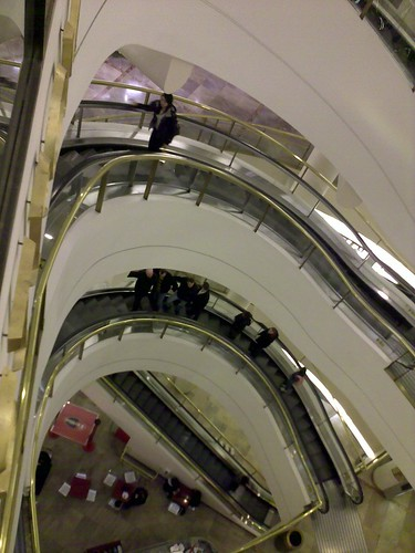 Curved escalators in Nordstroms