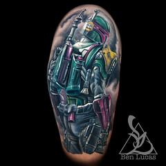 Bob-Fett-half-sleeve-tattoo-by-ben-lucas-at-eye-of-jade-chico-ca