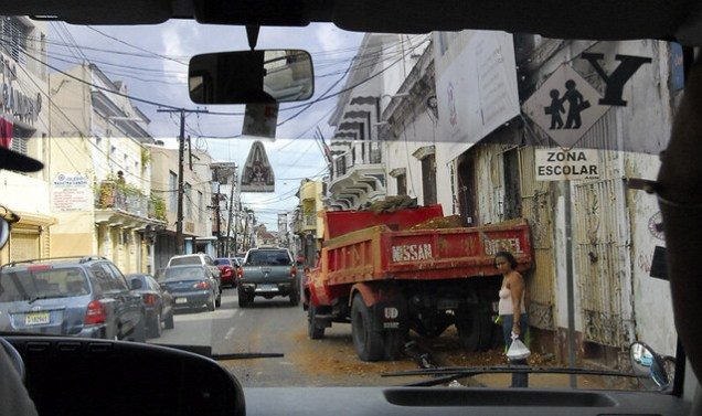 Street Scene Through Bus Window - Santo Domingo