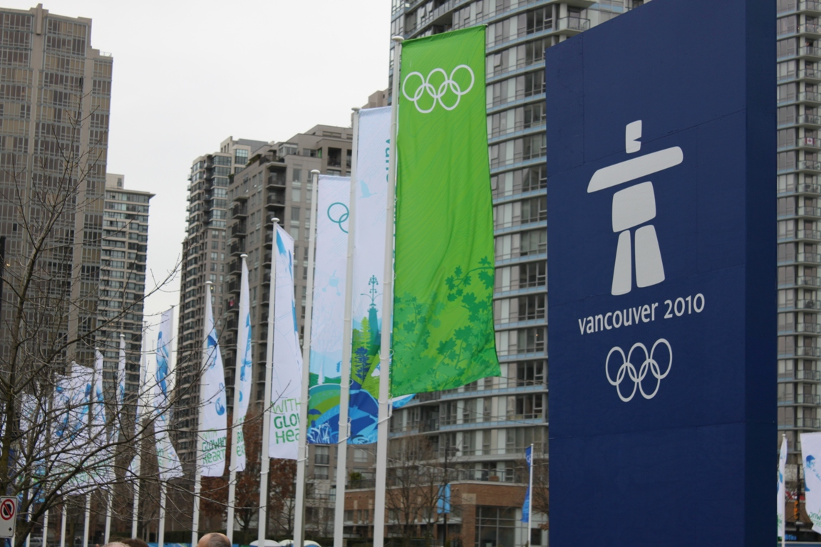 The sign and flags that greet spectators and media as they approach BC Place