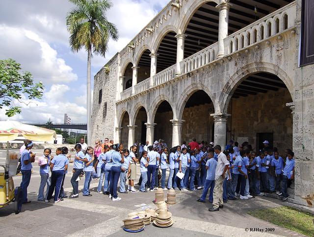 School children in blue uniforms