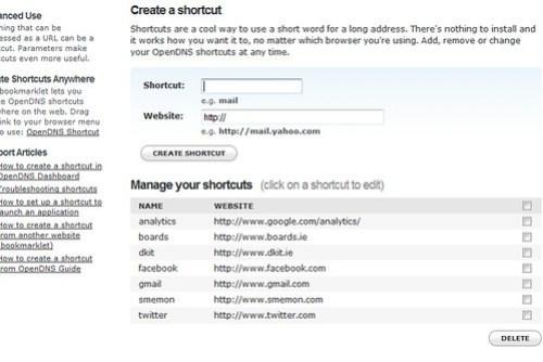 open dns shortcuts