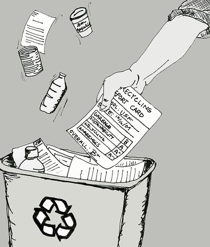 While USF has a thorough recycling and composting system in place, the university was deducted points for low student involvement.  Illustration by Elizabeth Brown/Foghorn