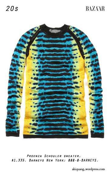 Proenza Schouler sweater, $1,335. Barneys New York; 888-8-BARNEYS.