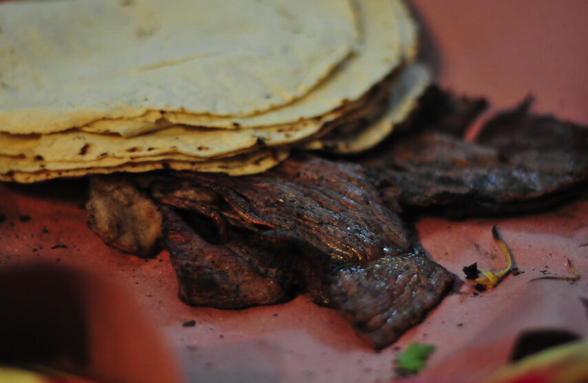 Meat and tortillas from Oaxaca Market