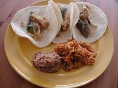 Fiesta!  Chicken Poblano tacos, smoky beans, rice