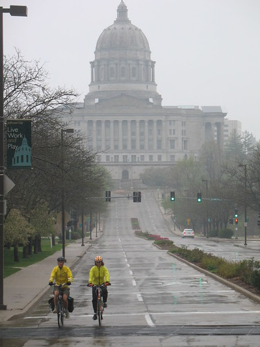 Missouri Capitol and bicyclists