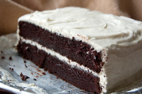 Chocolate cake with vanilla bean buttercream frosting