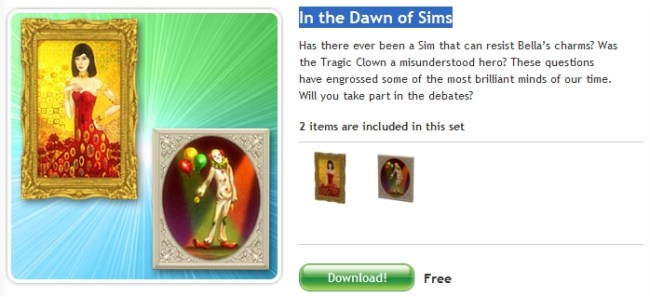 The Sims 3 Store - In the Dawn of Sims (The Sims Celebration) FREE SET