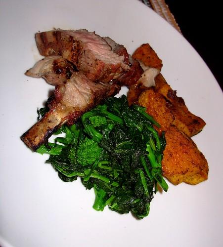 Grilled pork chop, rapini della mia Nonna, roasted butternut squash