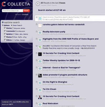 Real Time Search Results from Collecta