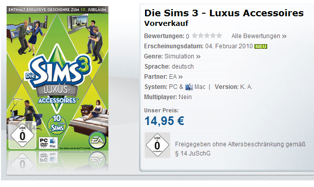 Play.com (UK) & Gamesload (Germany) pre-order items for The Sims 3 High End Stuff Pack