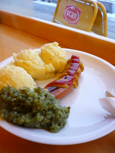 A hot dog with relish and mashed potato