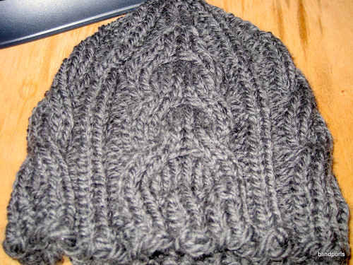 Picture of Bella's hat, matching cabled hat for Bella's mittens