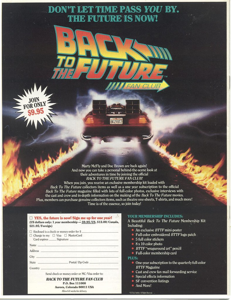 BTTF Fan Club ad