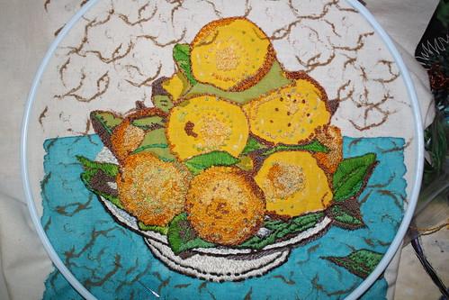 lemon embroidery week 3
