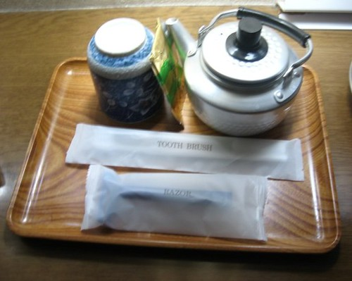 A tea set in the hotel room