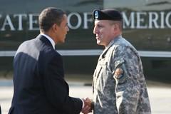 Brig. Gen. Uberti greets President Barack Obam...