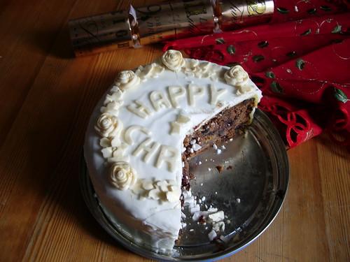 Christmas cake half eaten