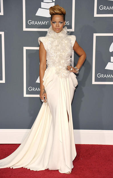 Singer Rihanna arrives at the 52nd Annual GRAMMY Awards held at