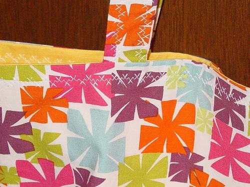 close up of stitching on bag