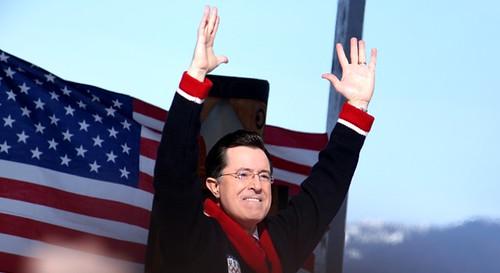 Stephen Colbert basking in Canadian glory.