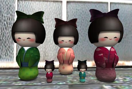 Standing Kokeshi Dolls