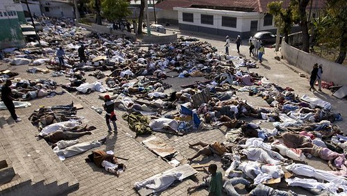 Deceased Quake Victims Left at Entrance of Port-au-Prince Morgue