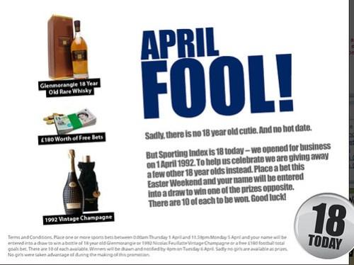 sporting index april fool