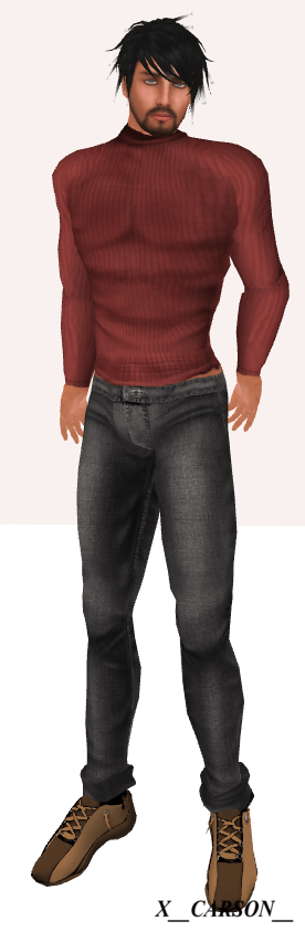 Style for him #104 Red Ribbed Sweater Tuttie Fruity #166TF Basic Grey Jeans