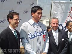 Paul DePodesta, Hee Seop Choi, and Frank McCourt